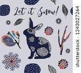 winter print design  rabbit in...   Shutterstock .eps vector #1243027264
