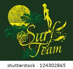 surfer vector art | Shutterstock .eps vector #124302865