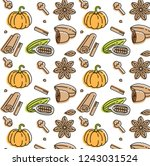 vector linear icon of pumpkin...   Shutterstock .eps vector #1243031524