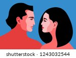 romantic concept. couple in... | Shutterstock .eps vector #1243032544