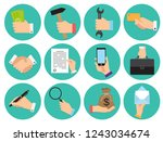 set of different round icons of ... | Shutterstock .eps vector #1243034674