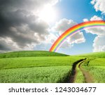 dark stormy clouds and sun with ... | Shutterstock . vector #1243034677