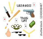 thug life style pixel set with... | Shutterstock .eps vector #1243038487