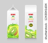 cardboard pack with kiwi juice... | Shutterstock .eps vector #1243041604