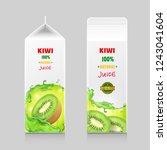 cardboard pack with kiwi juice... | Shutterstock .eps vector #1243041604