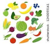 large set of fruits  vegetables ...   Shutterstock .eps vector #1243055161