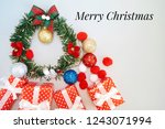 merry christmas background on... | Shutterstock . vector #1243071994