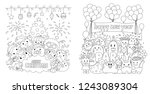 cute monsters in christmas and... | Shutterstock .eps vector #1243089304