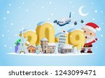new year 2019. greeting card.... | Shutterstock .eps vector #1243099471