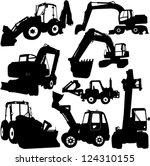 excavator silhouette set  ...