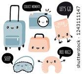 set of travel kawaii objects... | Shutterstock .eps vector #1243111147