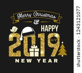 merry christmas and 2019 happy... | Shutterstock .eps vector #1243121077
