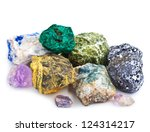 collection of minerals isolated | Shutterstock . vector #124314217