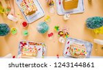 flat lay. kids decorating small ... | Shutterstock . vector #1243144861