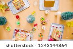 flat lay. kids decorating small ... | Shutterstock . vector #1243144864