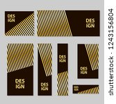 web banners set with gold lines.... | Shutterstock .eps vector #1243156804