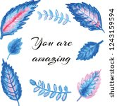 blue and pink fantastic leaves. ... | Shutterstock .eps vector #1243159594