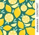 sunny lemon pattern. vector... | Shutterstock .eps vector #1243176607