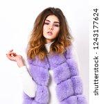 violet fur vest fashion... | Shutterstock . vector #1243177624
