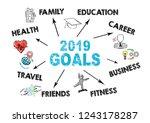 2019 goals concept. chart with... | Shutterstock . vector #1243178287