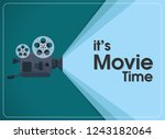 retro move film projector with... | Shutterstock .eps vector #1243182064