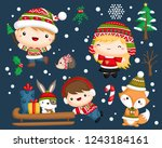 a vector set of a cute and...   Shutterstock .eps vector #1243184161