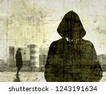 vintage cracked male figure ... | Shutterstock . vector #1243191634