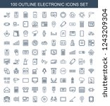 electronic icons. set of 100... | Shutterstock .eps vector #1243209304
