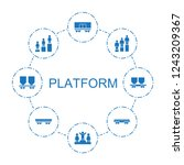 platform icons. set of 8 filled ... | Shutterstock .eps vector #1243209367
