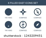 east icons. set of 6 filled... | Shutterstock .eps vector #1243209451