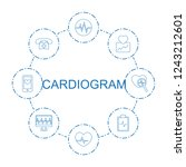 cardiogram icons. set of 8 line ... | Shutterstock .eps vector #1243212601