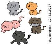 vector set of cats | Shutterstock .eps vector #1243215217