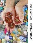 holding four reiki symbol... | Shutterstock . vector #1243215451