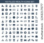 wealth icons. set of 100 filled ... | Shutterstock .eps vector #1243217077