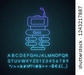 quiz game buzzer neon light... | Shutterstock .eps vector #1243217887