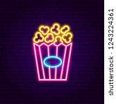 popcorn neon sign. vector...   Shutterstock .eps vector #1243224361