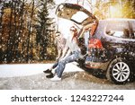 winter road with snowflakes and ... | Shutterstock . vector #1243227244