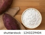 top view of sweet potato starch ... | Shutterstock . vector #1243229404