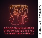 bride and bridegroom neon light ... | Shutterstock .eps vector #1243230991