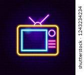 analog tv neon sign. vector... | Shutterstock .eps vector #1243234234