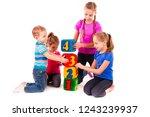 happy kids holding blocks with... | Shutterstock . vector #1243239937
