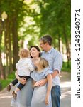 happy family with two kids... | Shutterstock . vector #1243240771