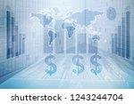 2d rendering dollar symbol  | Shutterstock . vector #1243244704