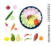 fresh salad in bowl  snack  top ... | Shutterstock .eps vector #1243253011