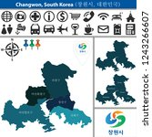 vector map of changwon  south... | Shutterstock .eps vector #1243266607