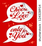 choose love valentine stickers... | Shutterstock .eps vector #124328914
