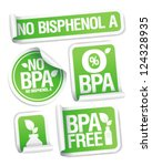 Bisphenol A (BPA) free products stickers set. - stock vector