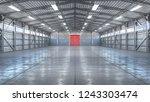 hangar interior with gate. 3d...   Shutterstock . vector #1243303474