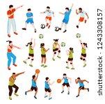 isometric school sport kids... | Shutterstock .eps vector #1243308157