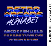retro arcade alphabet font....   Shutterstock .eps vector #1243315864